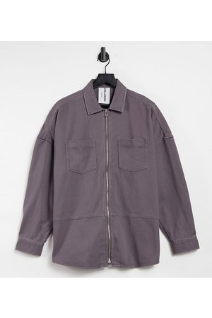 COLLUSION Unisex drop shoulder oversized shirt with double zip detail in washed grey
