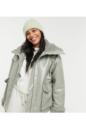 ASOS Curve leather-look jacket with borg lining in sage-Multi