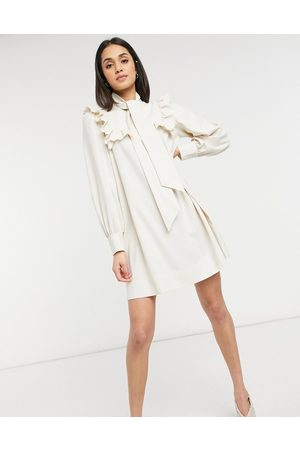 & OTHER STORIES & smock mini dress with ruffle detail in cream