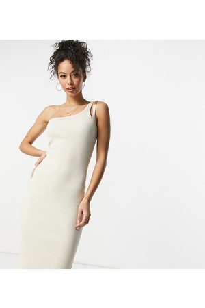 4th & Reckless Tall Knitted one-shoulder chain strap detail midi dress in cream