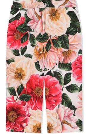 Dolce & Gabbana Girls Wide Leg Pants - Floral-print wide-leg trousers
