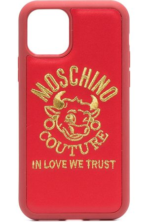 Moschino Women Phone Cases - Logo-embroidered iPhone 11 Pro case