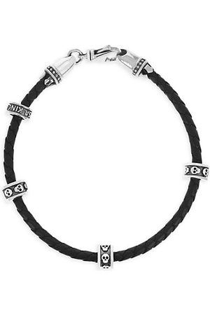 King Baby Studio Onyx Story Leather & Sterling Silver Mirco Stackable Skull Rings Wrap Bracelet
