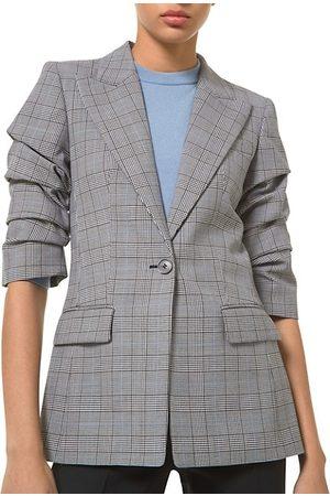 Michael Kors Women Blazers - Ruched-Sleeve Plaid Blazer