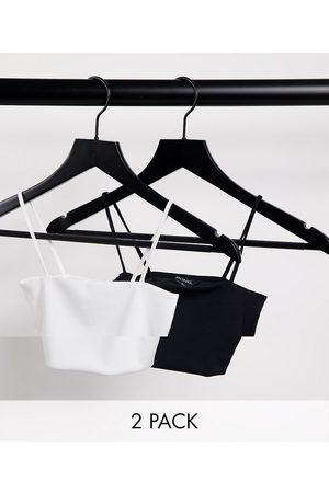 Monki Alice 2 pack crop cami singlet in black and white-Multi