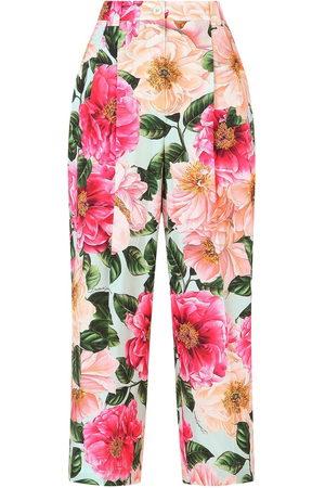 Dolce & Gabbana Women Pants - Floral-print cropped trousers