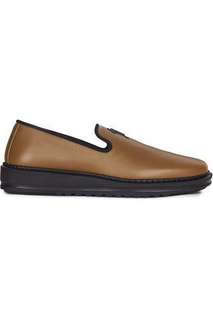 Giuseppe Zanotti Men Flat Shoes - Slip-on leather slippers with logo detail