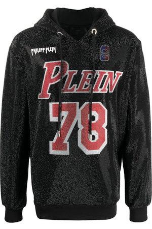 Philipp Plein Crystal logo rib-trimmed hoodie