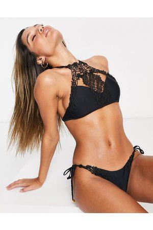 South Beach Lace trim high neck bikini in black