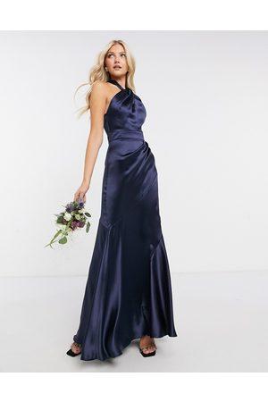 ASOS Bridesmaid satin halter maxi dress with panelled skirt and keyhole detail-Navy
