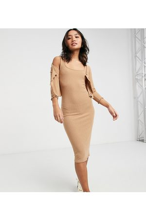 New Look Women Sleeveless Dresses - Ribbed dress and cardi set in camel-Tan