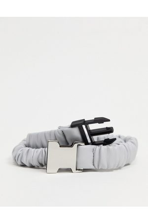 ASOS Slim belt in grey faux leather with elastic ruched detail and metal keeper