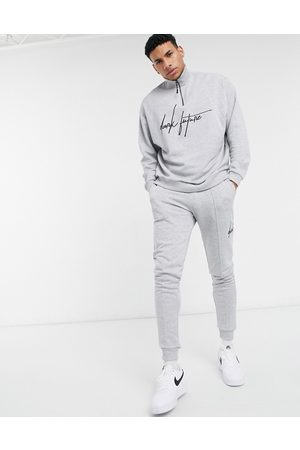 ASOS Dark Future Co-ord oversized half zip sweatshirt in grey marl with chest logo