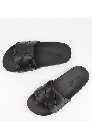 ASOS Wide Fit Finley woven slides in