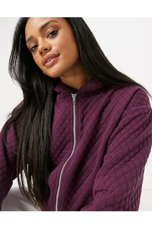 ASOS Co-ord quilted sweat with zip in aubergine-Red