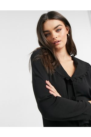 Vila Blouse with embroidered collar in black
