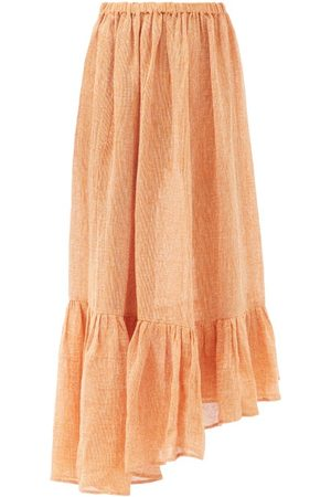 Lisa Marie Fernandez Nicole Gathered Asymmetric Linen-blend Skirt - Womens
