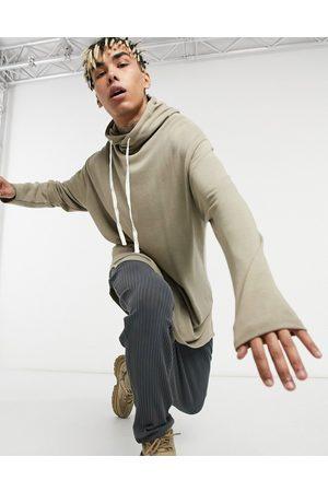ASOS Oversized longer length hoodie in beige super soft viscose