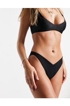 ASOS Recycled mix & match v front high leg hipster bikini bottoms in black