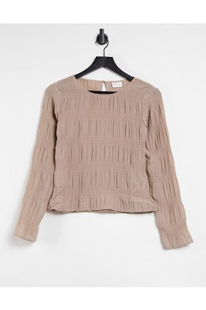 Vila Long sleeve top with gathered detail in beige