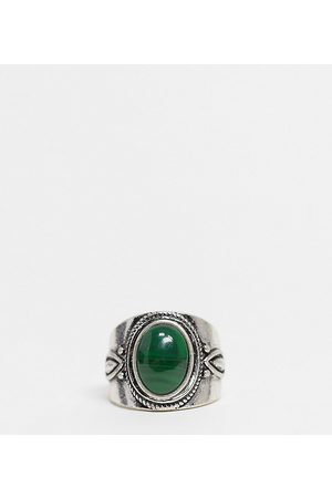 Reclaimed Vintage Inspired ring with stone in silver