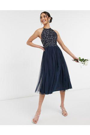 Maya Bridesmaid halterneck midi tulle dress with tonal delicate sequin in navy