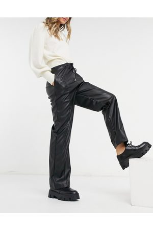 ASOS Leather look straight leg trackies with seam detail in black