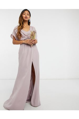 ASOS Bridesmaid short sleeved cowl front maxi dress with button back detail-Green