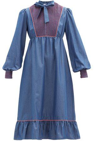LORETTA CAPONI Nadia Smocked Cotton-poplin Midi Dress - Womens - Dark