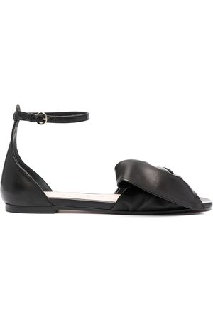 RED(V) Bow-strap leather sandals