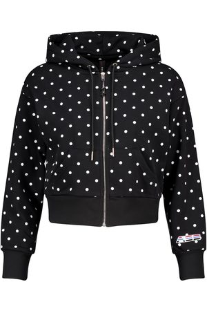Adam Selman Sport Women Tops - Polka-dot cropped cotton-blend hoodie