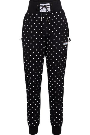 Adam Selman Sport Women Pants - Polka-dot high-rise cotton-blend trackpants