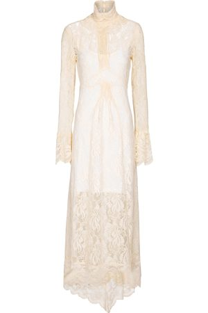 Paco rabanne High-neck lace maxi dress