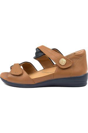Ziera Women Flat Shoes - Doxie W Zr Navy Tan Sandals Womens Shoes Comfort Sandals Flat Sandals