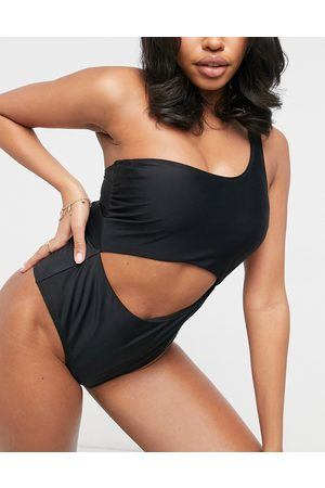 Ivory Rose Women Swimsuits - Fuller Bust one shoulder cut out swimsuit in black