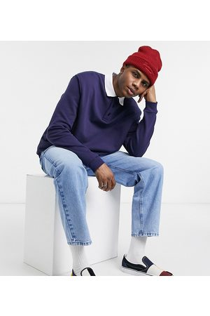 Reclaimed Vintage Inspired polo neck sweat in navy-Blue