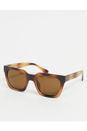 A. Kjærbede Sunglasses - Clay unisex slim square sunglasses in brown tort