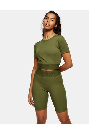 Topshop Women Tops - Activewear cropped top in khaki-Green