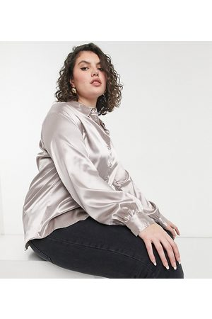 In The Style Exclusive satin oversized shirt in mushroom-Grey