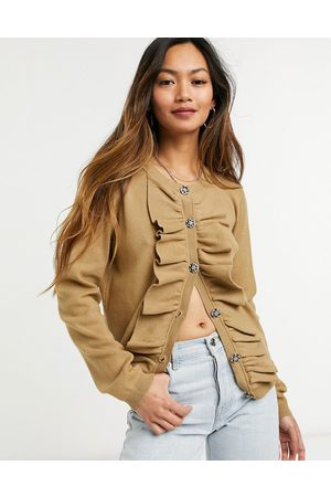 Vila Women Cardigans - Cardigan with frill detail in brown