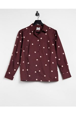 People Tree Organic cotton button-up shirt in spot print-Brown