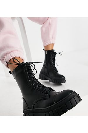 Public Desire Omega chunky lace-up boots in black