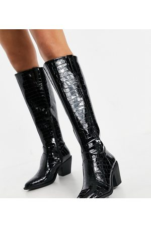 Glamorous Wide Fit Knee high western boots in black