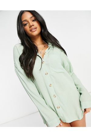 Influence Cheesecloth beach shirt dress in sage green