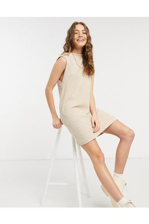 ASOS Brushed rib sleeveless mini dress in camel-Beige