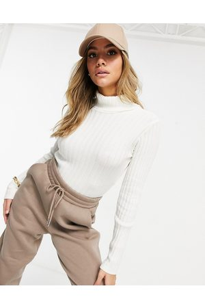 I saw it first Knitted roll neck cropped jumper in cream