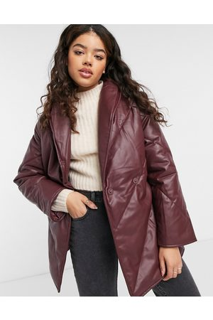 Monki Hilma faux-leather padded jacket with belt in dark red