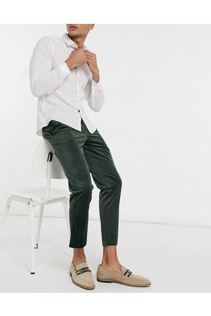 Gianni Feraud Skinny fit cropped velvet suit pants