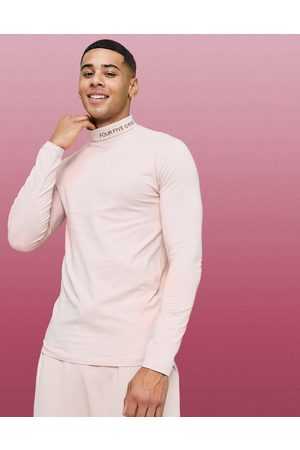 ASOS 4505 muscle long sleeve t-shirt with roll neck in pink