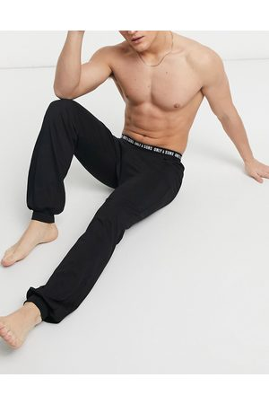 Only & Sons Lounge pants cuffed with branded waistband in black